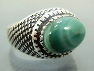 Turkish Handmade Jewelry 925 Sterling Silver Agate Stone Men's Ring Sz 10