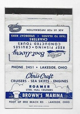 Vintage Matchbook Cover BROWN'S MARINA Lakeside OH Lake Erie S2476