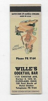Vintage Matchbook Cover WILLIE'S COCKTAIL BAR Cleveland OH Pin Up S2429