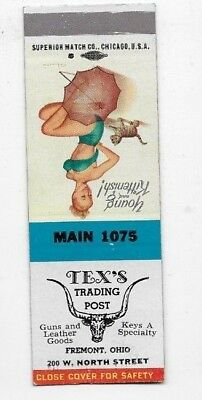 Vintage Matchbook Cover TEX'S TRADING POST Fremont OH Pin Up S2435