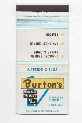 Vintage Matchbook Cover BURTON'S RESTAURANT LOUNGE Chico CA S2482