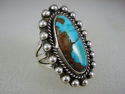 FABULOUS OLD NAVAJO STERLING SILVER & NATURAL TURQUOISE CLUSTER RING sz 6.5