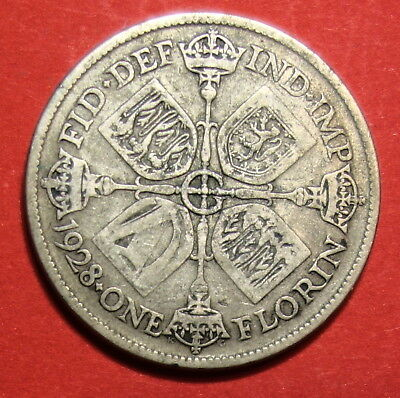 Great Britain Florin 1928 .  0.500  Silver..
