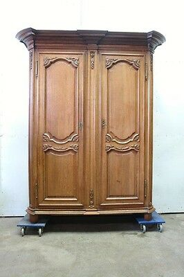 Large Antique French Country Normandy Style 2 Door Armoire Wardrobe