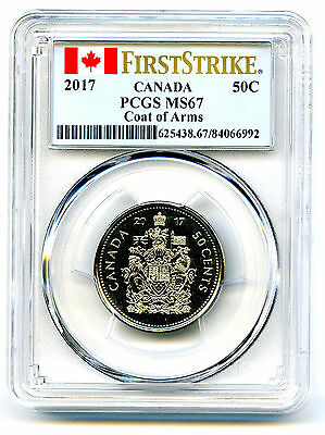 2017 Canada 50 Cent Pcgs Ms67 First Strike Coat Of Arms Half Dollar 150Th Anniv