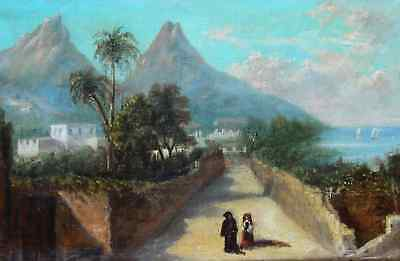 LIGHTING CANVAS xixth BEAUTIFUL LANDSCAPE ITALY THE SOUTH & TONE ORIENTALIST