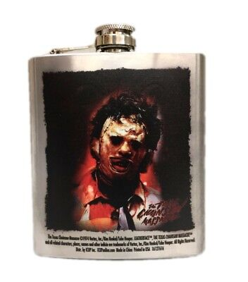 The Texas Chainsaw Massacre Stainless Steel Flask Leatherface Closeup 8oz