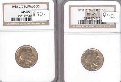 1938 D And D/d   Buffalo Nickel Set Ngc Ms65 Ms66 65 And 66 Below Dealed Bid