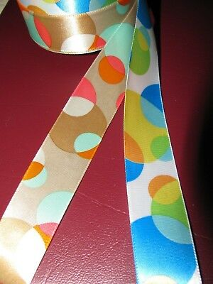 "Offray ""Fun Dots"" Single Face Ribbon -  Blue & Brown -  7/8"" Wide, 29 Ft. Each"