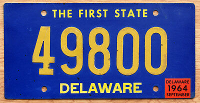 1964 Delaware License Plate - The First State slogan