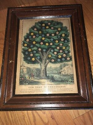 Original Currier & Ives Color Lithograph THE TREE OF TEMPERANCE 1849 Rare Bible