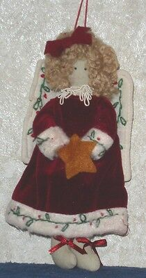 "7.5"" ANGEL with STAR Christmas Plush Hanging Ornament Country Holiday Home Decor"
