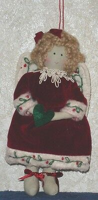 "ANGEL with CHRISTMAS HEART Plush Hanging Ornament 7 1/2"" Tall Holiday Home Decor"