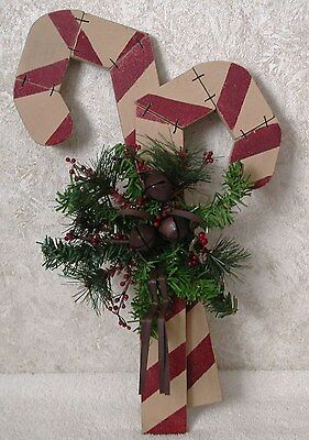 Country Christmas WOOD CANDY CANES Jingles Bells Pine Garland Hanging Wall Sign