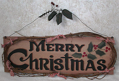 "MERRY CHRISTMAS & HOLLY Country Wood Hanging Wall Sign 17"" x 6""  Holiday Decor"