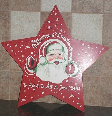 "Santa Claus Metal Barn Star Extra Large 24"" Merry Christmas To All Holiday Decor"