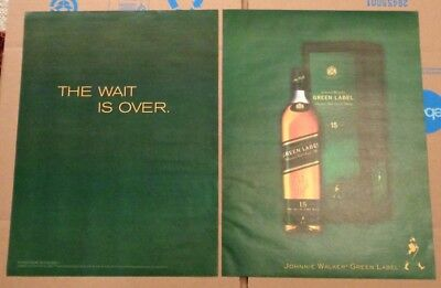2005 Johnnie Walker Green Label Scotch whisky bottle photo BIG vintage print ad