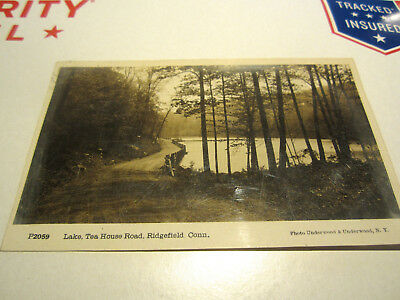 Antique Real Photo Postcard Lake At Tea House Road Ridgefield, Ct. 1913