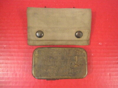 WWI US Army M1910 First Aid Canvas Pouch w/Bauer Bandage - Marked: US Army 1917
