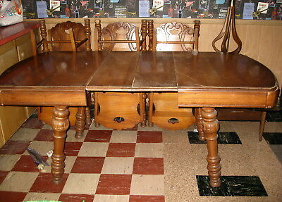 ANTIQUE OAK DINING TABLE + 6 CHAIRS - CIRCA 1920's - JACOBEAN STYLE - NICE!!!