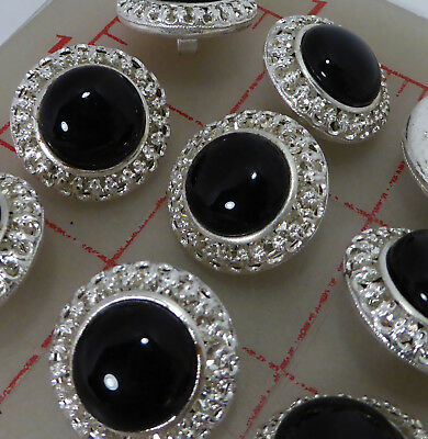 "12 Czech silver rhinestone metal shank buttons black glass center 22mm 7/8"" 106"