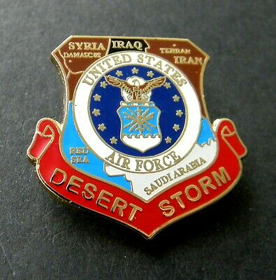 Desert Storm 1991 US Air Force Veteran USAF Shield Lapel Pin Badge 1 inch