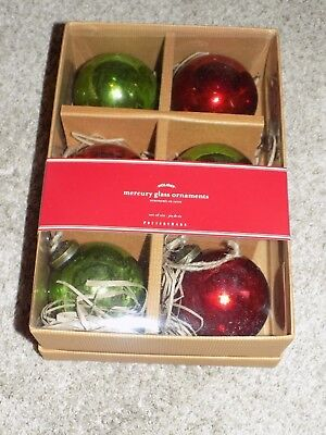 Pottery Barn Mercury Glass Ball Ornaments Red and Green Set of 6