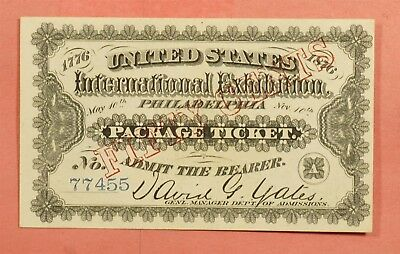 1876 Philadelphia Pa International Expo Ticket Pennsylvania