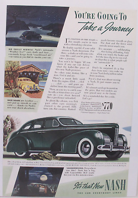 1938 Nash Auto Color Vintage Print Ad   TAKE A JOURNEY