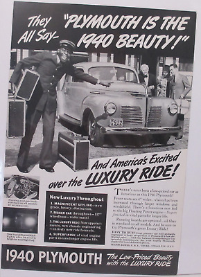 1940 Plymouth Advertisement Luxury Ride Vintage Photo Car Original Print AD