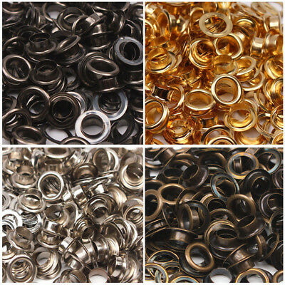 Metal 100 Clothes Eyelet kits W/ Washer Leather Craft Repair Grommet 3.5-14mm