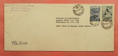 1949 Russia American Embassy Military Office Moscow Airmail To Usa