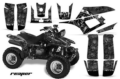 ATV Graphics Kit Quad Decal Wrap For Yamaha Warrior YFM350X 1987-2004 REAPER BLK