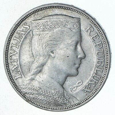 Roughly Size of Silver Dollar - 1931 Latvia 5 Lati - World Silver 25g *630