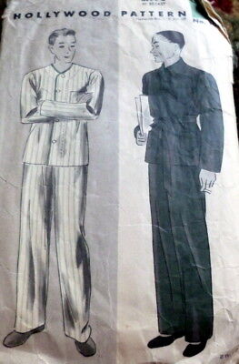 VTG 1930s MENS PAJAMAS HOLLYWOOD Sewing Pattern CHEST 40
