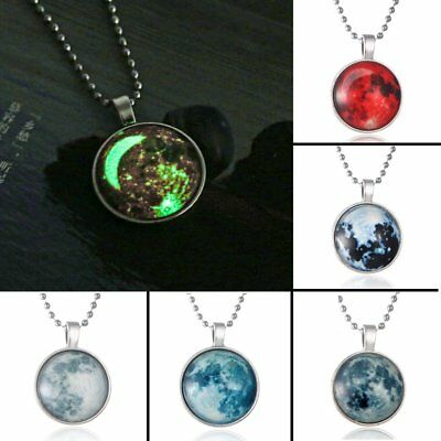 Glow In The Dark Moon Necklace Magic Galaxy Planet Glass Pednant Necklace Gift