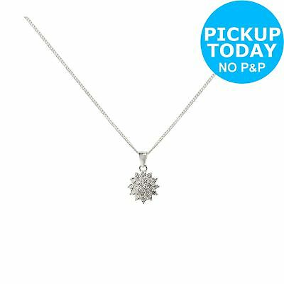 Revere Sterling Silver 0.50ct Look CZ Cluster Pendant 18 Inch Necklace