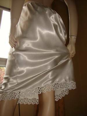 Vtg St Michael White High Gloss Satin & Lace Half Slip Petticoat 18 (EU 48)