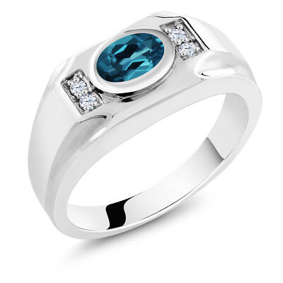 1.46 Ct London Blue Topaz White Created Sapphire 925 Sterling Silver Men's Ring