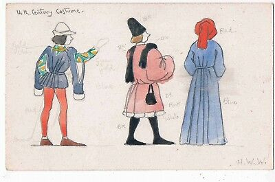 HAND DRAWN POSTCARD BY H. W. WHANSLAW - 14th CENTURY COSTUME, 1910s