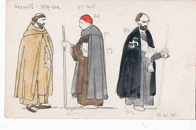 HAND DRAWN POSTCARD BY H. W. WHANSLAW - 15th CENTURY HERMITS COSTUME, 1910s