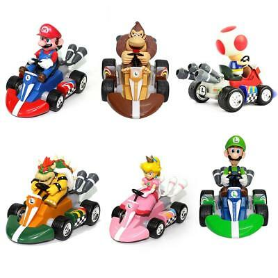 6x/Set Super Mario Kart Luigi PVC 4 Wheels Pull Back Racers Mini Car Toys figure