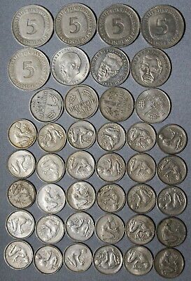 Germany 50 Deutsche Mark Face Value 1950 1990 Lot Of 42 Coins No