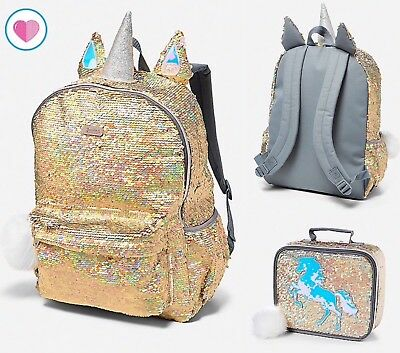 Justice Gold Unicorn Reversible Flip Sequin Backpack + Lunch Tote Bag Box NEW