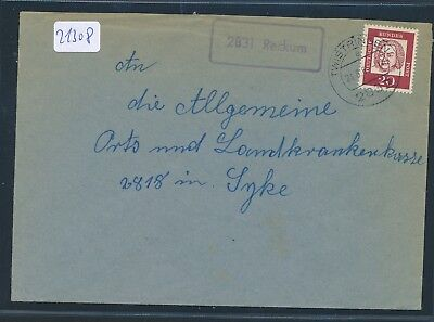 21308) Twistringen, Brief Landpost Ra1 2831 Reckum 1962