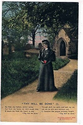 """RELIGIOUS SET OF 3 POSTCARDS - BAMFORTH SERIES 4514 - """"THY WILL BE DONE"""" 1900s"""