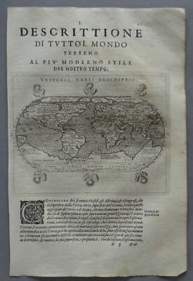 World - 2 Poles - Six wind-heads - copper engraving map Ptolemaeus 1620 Nice map