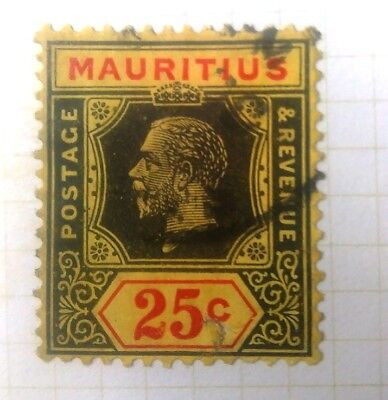 ** 25 Cents Mauritius  King George V Green, Red & Yellow  Stamp Used**