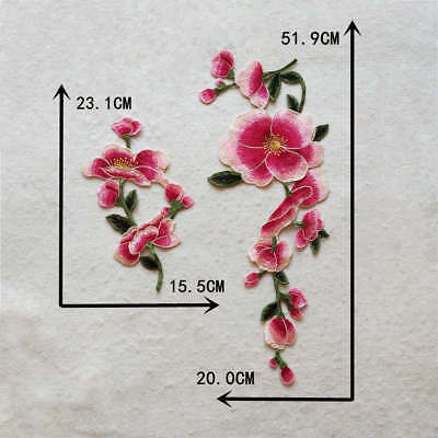 Neckline Applique Sewing Crafts red Lotus clothing embroidery accessory YL944