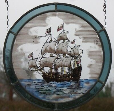 """Leaded Glass Older Window Stained """""""" Hanseatic Cog """""""" on Real Antique Glass"""